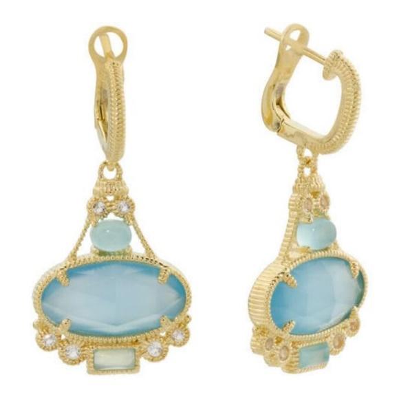 Calcedony Skin on Blue Earrings on Gold